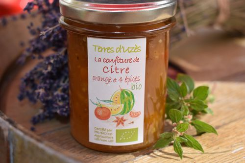 Confiture BIO de Terres d'Uzes citre orange 4 épices